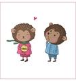 Cute cartoon hedgehogs vector image vector image