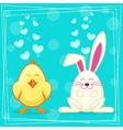 Cute yellow cartoon chicken and rabbit vector image vector image