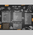 dessert shop or bakery menu template with hand vector image