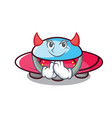 devil ufo mascot cartoon style vector image