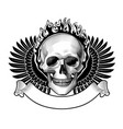 engraved human skull full face in a ring fire vector image vector image