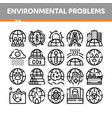 environmental problems thin line icons set vector image vector image