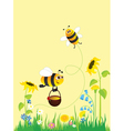 flowering meadow and bees vector image vector image
