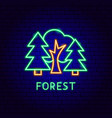 forest neon label vector image