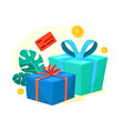 green and blue gift boxes with red ribbon bonus vector image