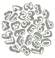 Hand drawn 3D numbers vector image vector image