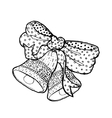 Hand drawn black and white bow and bellMerry vector image