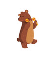 happy brown bear dancing with maracas cartoon vector image vector image
