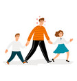 happy father with daughter and son walk vector image vector image