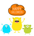 happy halloween three colorful monster set head vector image