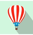 Hot air balloon with USA flag flat icon vector image