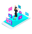 isometric girl graduate jumping is happy academi vector image