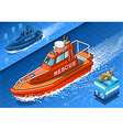 Isometric Rescue Boat in Navigation vector image