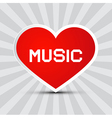 Love Music Theme with Red Paper Heart on Retro vector image vector image