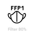 mask ffp1 filter respirator icon editable line vector image vector image