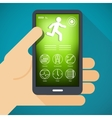 Mobile phone with fitness app in hand vector image vector image
