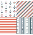 nautical seamless patterns vector image vector image