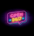 open 24 hours sign in neon style on a brick wall vector image