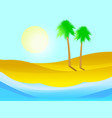 palm tree on sandy beach tropical island vector image vector image
