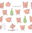 pattern with funny pigs vector image