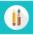 Pen and brush icon vector image
