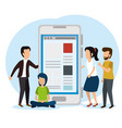people with smartphone website technology vector image