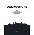 poster city skyline vancouver flat style vector image vector image