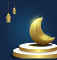 ramadan kareem islamic background with moon and vector image