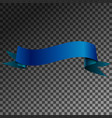 Realistic shiny blue ribbon banner isolated