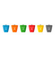 recycle trash bin icons bin for plastic glass vector image vector image