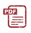 Red grunge pdf logo vector image vector image