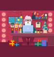 santa claus using a greeting card vector image vector image