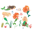 Sea collection Mermaids and sea animals on a white vector image vector image