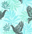 Seamless pattern with olive branches and pigeons vector image