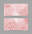 set horizontal banners with abstract hearts vector image