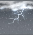 storm and lightning with rain and clouds in sky vector image vector image