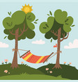 summer hammock with trees in forest or garden vector image vector image