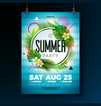 summer party flyer design with tropical vector image vector image