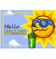 sun character and cool drink vector image