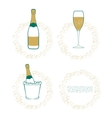The wineglass bottle of wine in ice bucket vector image vector image