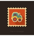 Tractor retro flat stamp with long shadow vector image vector image
