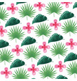 tropical flowers leaves foliage background vector image vector image