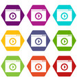 video player icon set color hexahedron vector image vector image