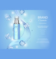 ice toner ads with ice cubes blue spray bottle vector image