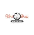 wine shop logo template concept grape leaf in vector image