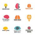 brain idea logo set flat style vector image vector image
