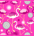 bright pink flamingos seamless pattern vector image