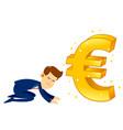 Businessman worshipping money golden euro symbol