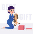 child holds a puppy best gift vector image vector image