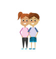 children together with hairstyle design and casual vector image